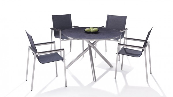 Stainless steel dining group set pamplona 4 - anthracite
