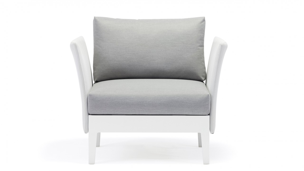 Loungesessel weiss outdoor  Aluminium-Sofa-Alea-Hocker-weiss-Living-Zone-Gartenmoebel | LIVING ZONE