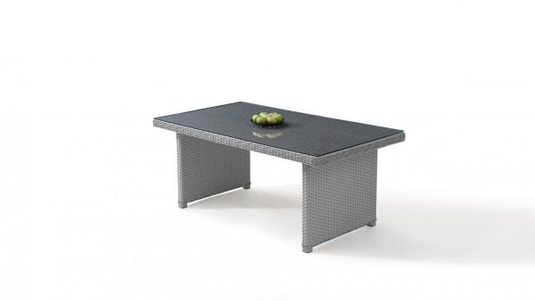 Polyrattan Esstisch Klassik 180 cm, eckig - grau satiniert