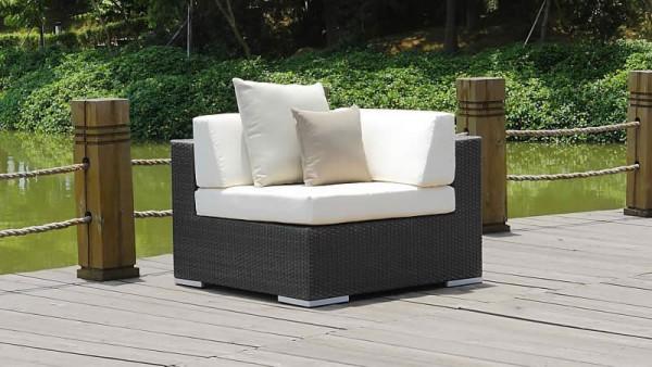 Polyrattan cube corner sofa 90 cm - anthracite