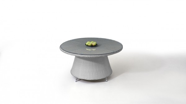 Polyrattan Dining Table Classic 140 cm, round - grey satin-finish