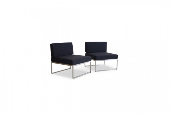 Stainless steel middle sofa, 2 pieces - black