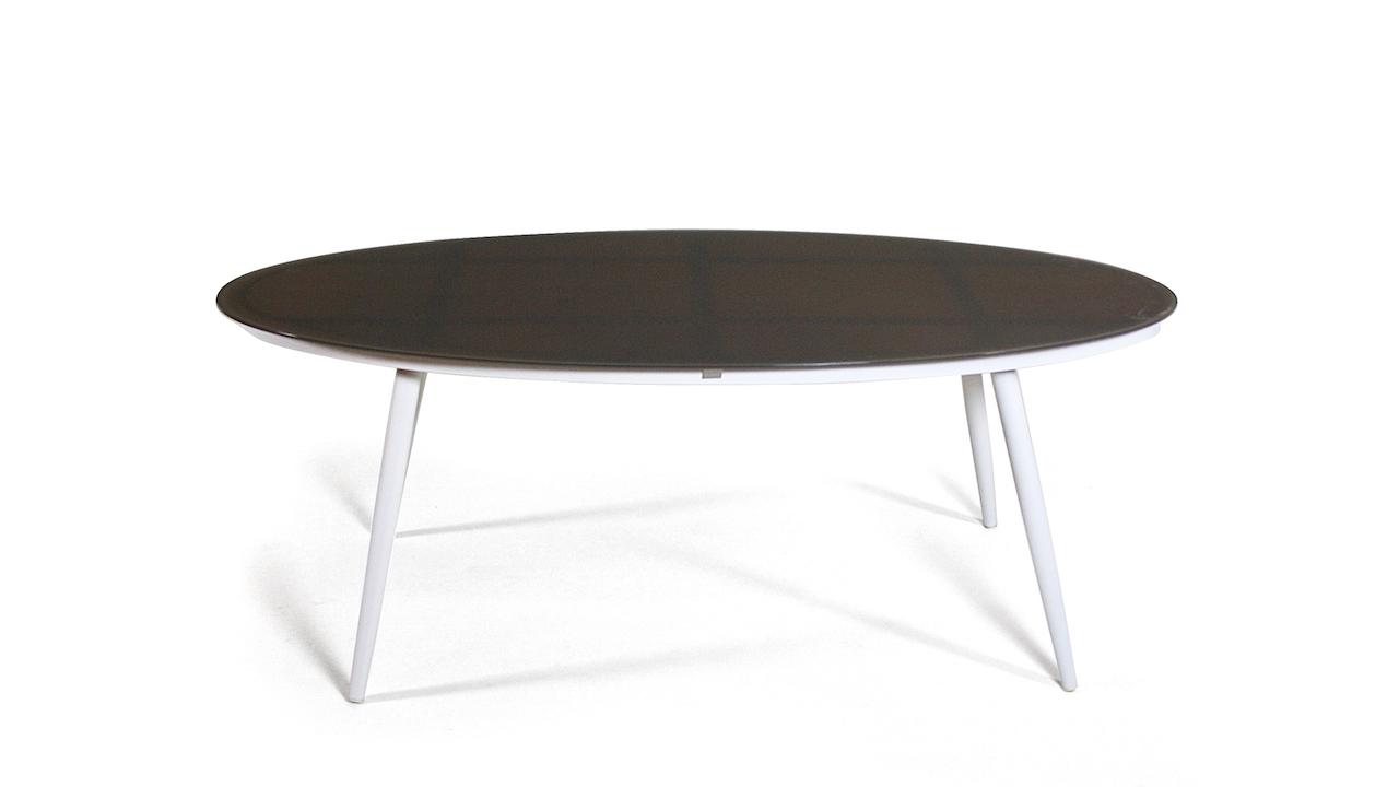 table à manger verre dépoli 200 cm, oval
