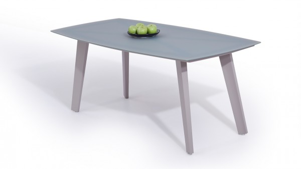 Aluminium dining table frosted glass 180 cm - silk grey