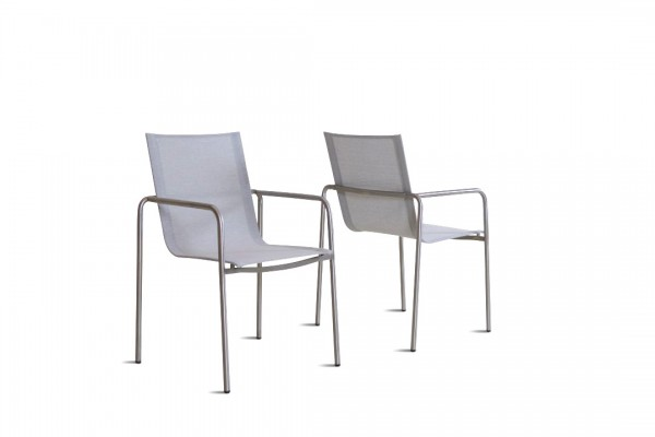 chaise en inox Tex U, 2 pièces - gris soie