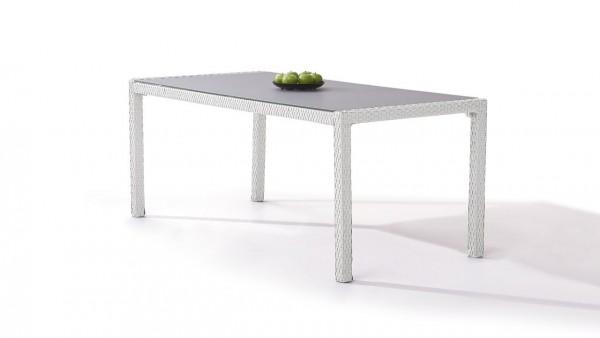 table à manger en polyrotin 180 cm - blanc satiné