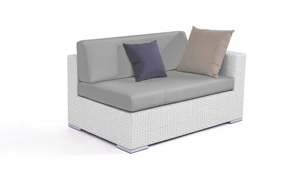 canapé d'angle en polyrotin Cube 140 cm, droite - blanc satiné