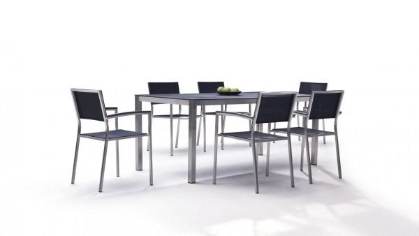 Stainless steel dining group set marbella 6 - black
