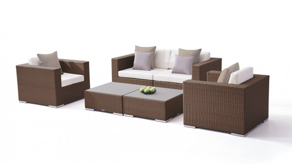Polyrattan seating group set tapa - nut brown