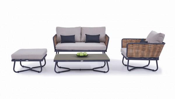 Polyrattan seating group set cosma - honey