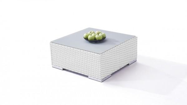 Polyrattan Cube Tisch 75 cm - weiß satiniert