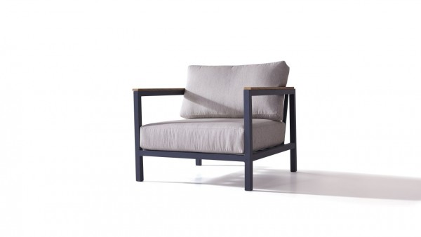 Aluminium plaza armchair 90 cm - anthracite