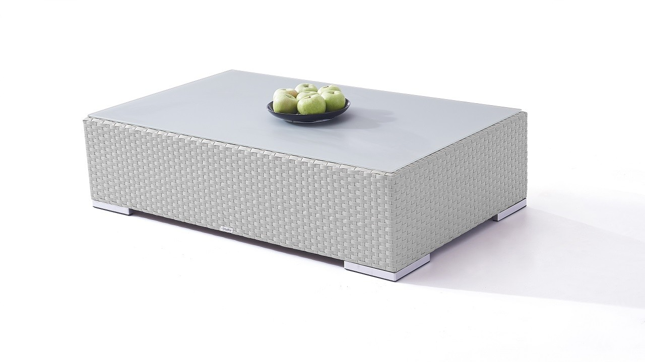 Polyrattan Cube Tisch 125 cm - grau satiniert