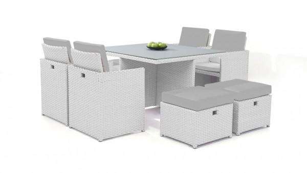 Polyrattan dining group set bodiner 4+4 - white satin-finish
