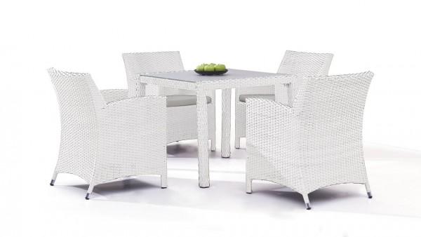 Polyrattan dining group set meetos 4 - white satin-finish