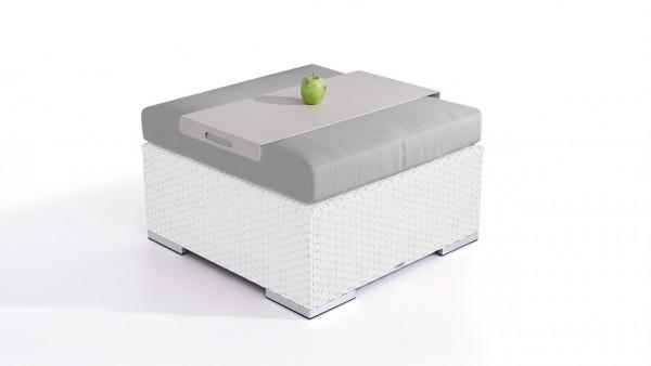 tabouret en polyrotin Cube 75 cm - blanc satiné