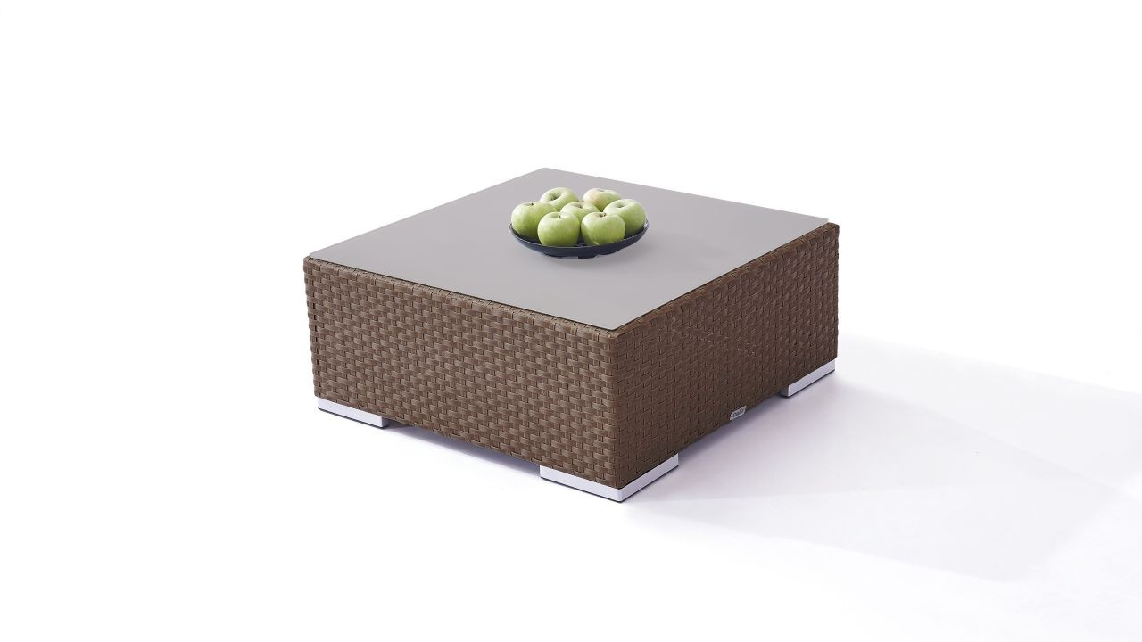 Polyrattan Cube Tisch 75 cm - nussbraun