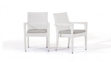 chaise en polyrotin Shero, 2 pièces - blanc satiné