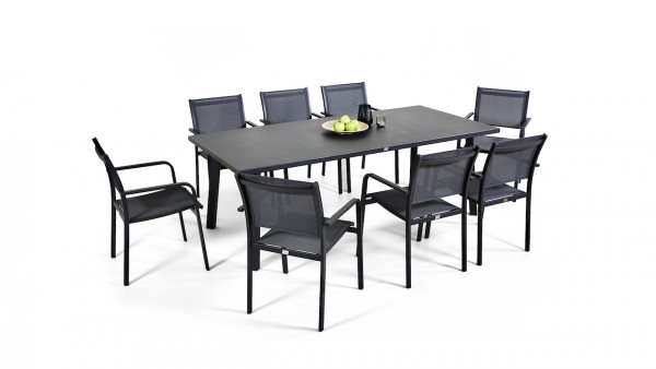 Aluminium dining group set brasilia 8 - anthracite