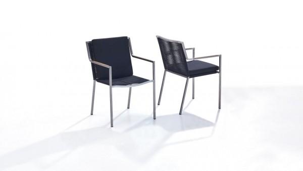 Edelstahl Stuhl Rope L, 2 Stück - schwarz