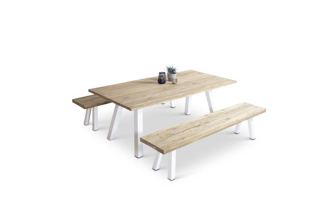 Alu Essgruppe Timber 6 - weiß - Teak Gartenmöbel Essgruppe in Teak, Weiß | Küche und Esszimmer > Essgruppen > Essgruppen