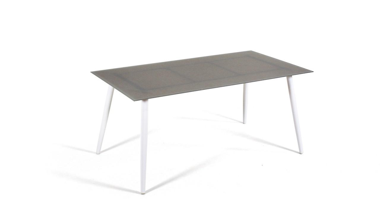 Alu Esstisch Milchglas 160 cm, konisch - weiß