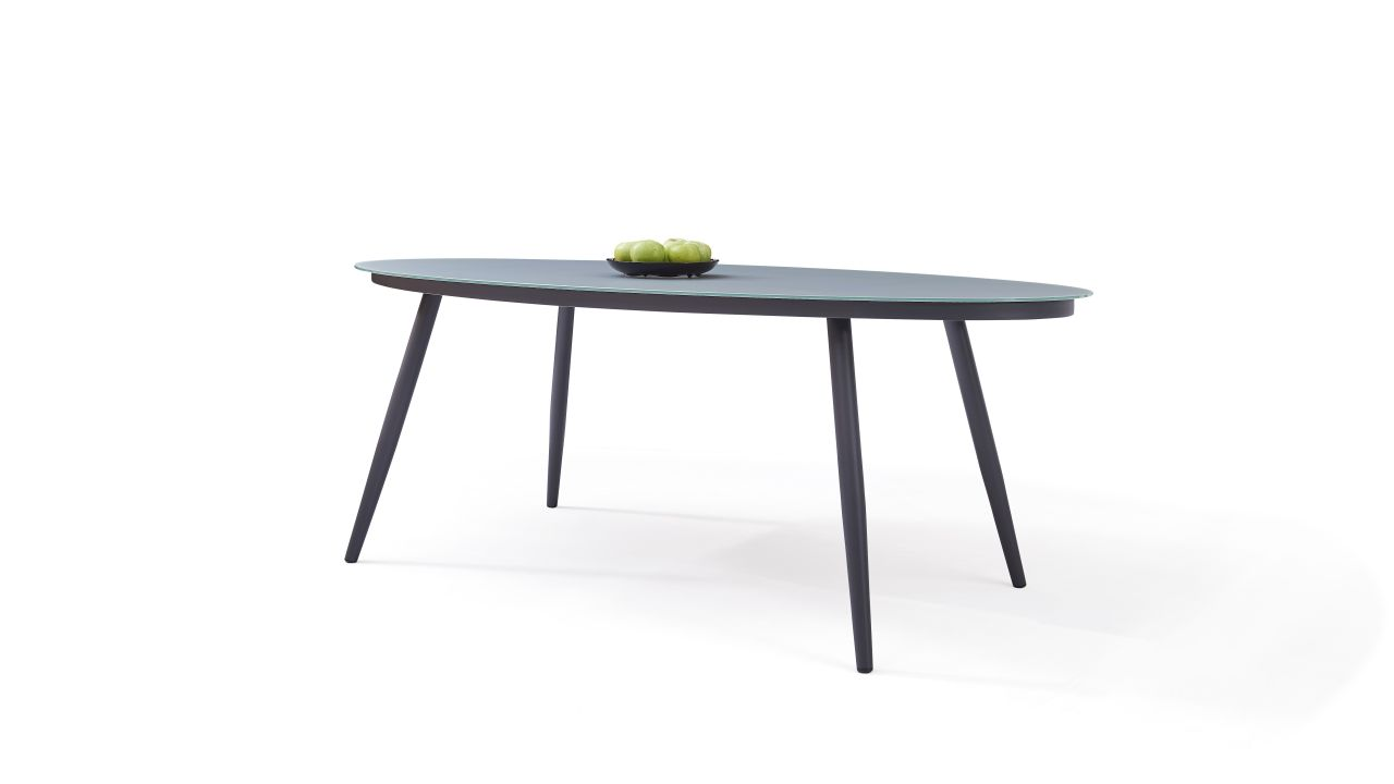 - Aluminium Dining Table Frosted Glass 200 Cm, Oval Living-Zone