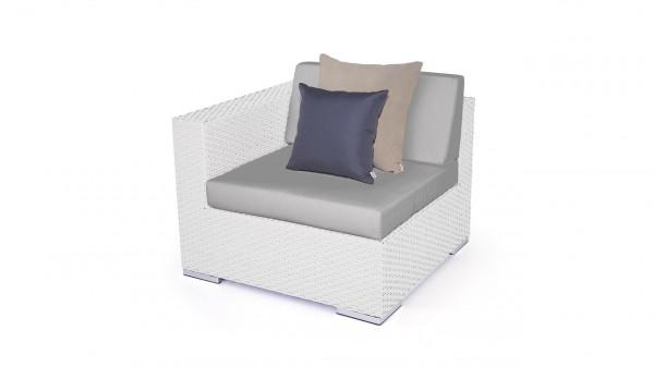 Polyrattan Cube Abschlusssofa 90 cm - weiß satiniert