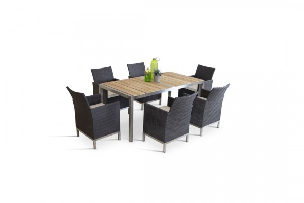 Stainless steel dining group set lourdes 6 - anthracite