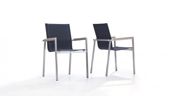 Stainless steel chair tex l, 2 pieces - black