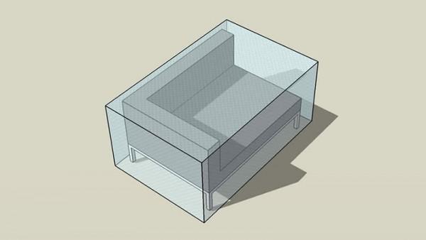 Covering sheet silva corner sofa 120 cm