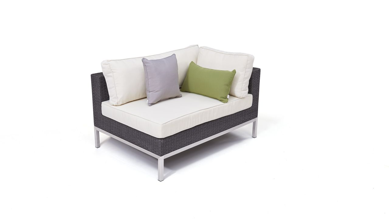 canapé de coin en polyrotin et inox Silva 120 cm, droite - anthracite
