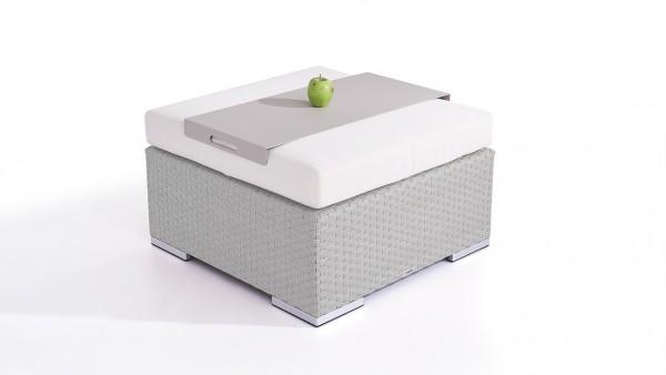 Polyrattan Cube Hocker 75 cm - grau satiniert