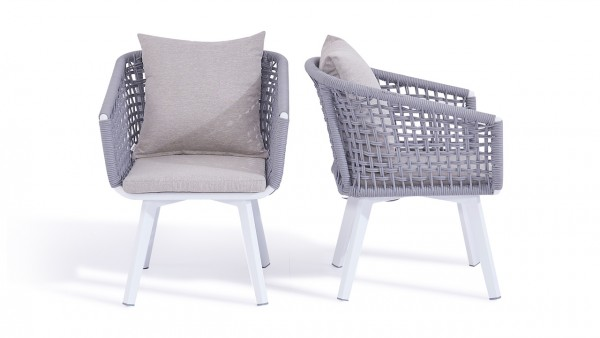 Rope chair diva, 2 pieces - silk grey