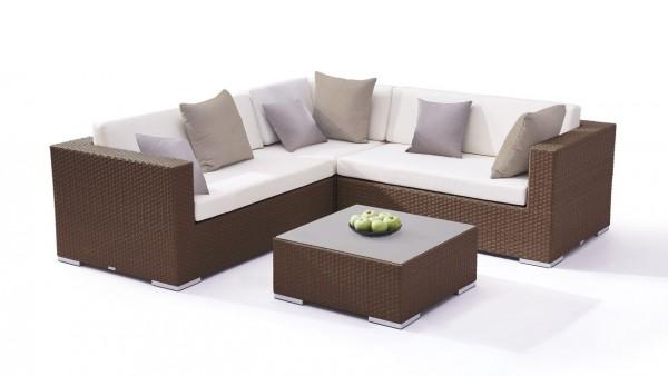 Polyrattan seating group set ben - nut brown