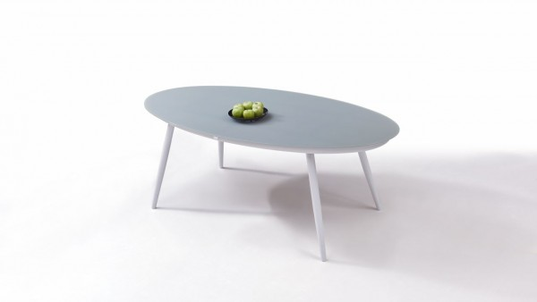 Aluminium dining table frosted glass 200 cm, oval - white
