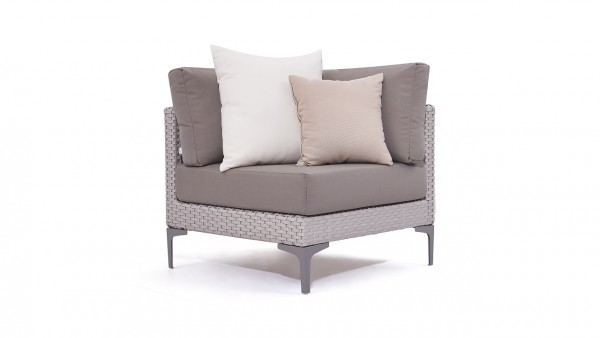 Polyrattan slim corner sofa 77 cm - grey satin-finish
