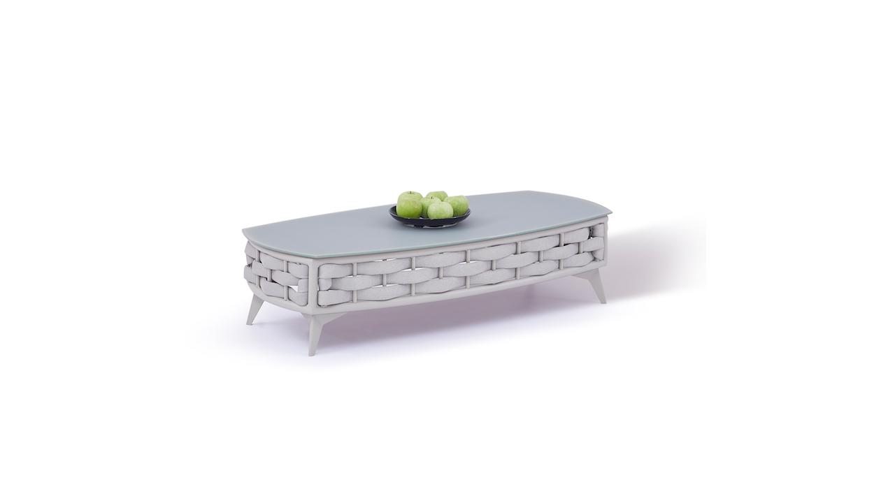 table en alu Coco 126 cm - gris soie
