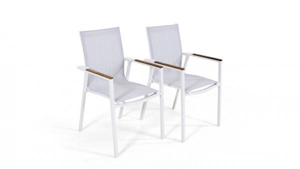 Aluminium chair tex t, 2 pieces - white