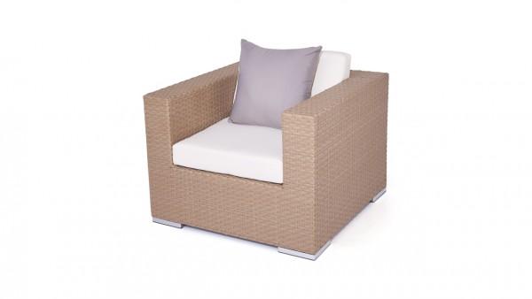 Polyrattan Cube Sessel - karamell