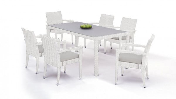 Polyrattan dining group set contracta 6 - white satin-finish