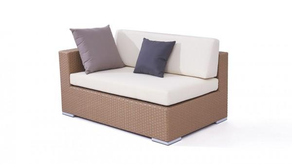 Polyrattan cube sofa end piece 140 cm, left - caramel