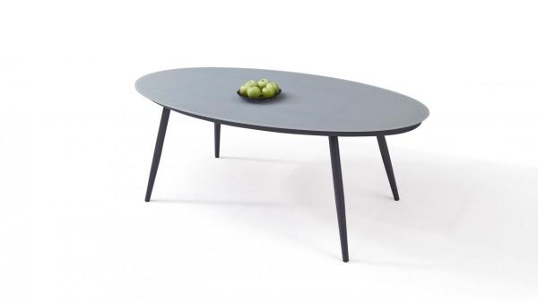 table à manger en alu verre mat 200 cm, oval - anthracite