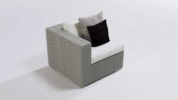 Polyrattan Cube Ecksofa 90 cm - grau satiniert