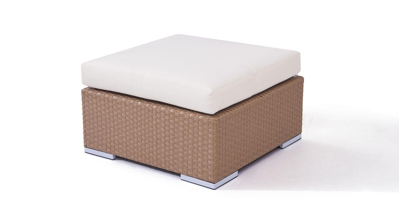 Polyrattan Cube Hocker 75 cm - karamell