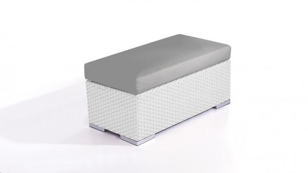 Polyrattan Cube Hocker 45 cm - weiß satiniert