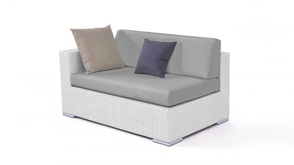 Polyrattan cube sofa end piece 140 cm, left - white satin-finish