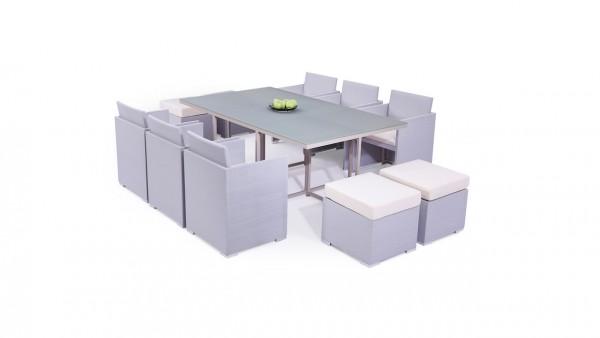 Textilene dining group set texdiner 6+4 - silk grey