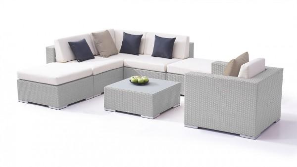 Polyrattan seating group set big sofia - grey satin-finish