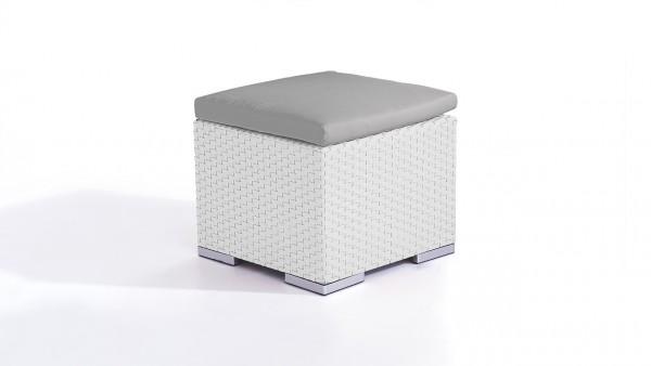 tabouret en polyrotin Cube 50 cm - blanc satiné